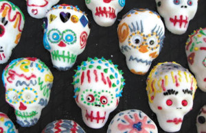 Decorated sugar skulls are part of the Day of the Dead tradition.