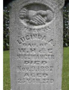 Steve's grandfather's sister Lucinda's gravestone.