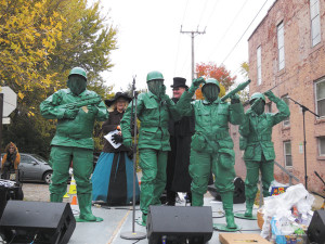 "The winner of the Marty Powell Memorial Costume Parade, adult division, ""Toy Soldiers."""