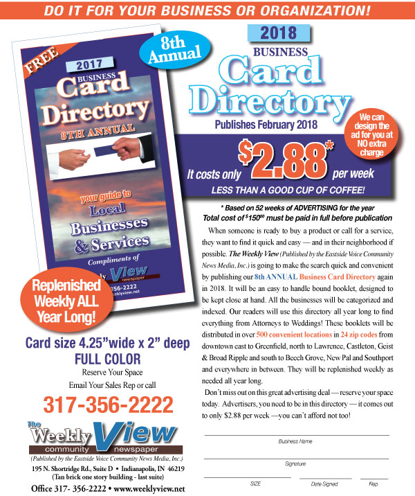 Advertise with us business card directory 2018 weekly view business card directory flyer 2018 weeklyview reheart Images